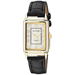 Sutton by Armitron Women's SU/1015MPBK Easy to Read Gold-Tone and Black Leather Strap Watch