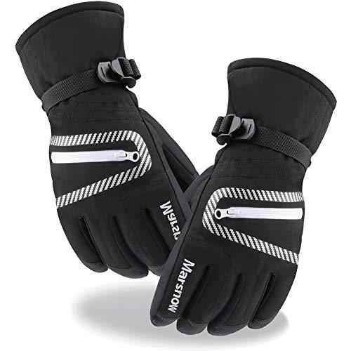 JTENG Skihandschuhe wasserdichte und Winddichte Handschuhe, Kälteschutz in Winterzeit (schwarz, XL)