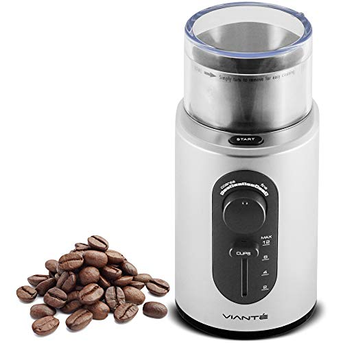 Viante Electric Coffee Bean & Spice Grinder. Cup Size and Coarseness Selectors. Removable Stainless Steel Cup for easy cleaning & Pouring. Cord Storage System. Grinds Nuts, Herbs & Grains