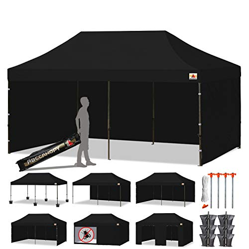 ABCCANOPY Canopy Tent Popup Canopy 10x20 Pop Up Canopies Commercial Tents Market stall with 6 Removable Sidewalls and Roller Bag Bonus 4 Weight Bags and 10ft Screen Netting and Half Wall, Forest Green