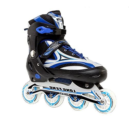 Inline Skates Für Kinder Und Herren Damen, 8 LED-Blinkräder, 31-46 Einstellbare Schuhgröße, ABEC-7 Lager, Doppelt Schuhkopf Kann die Zehen Besser Schützen (Blau Plus, XL 43-46)