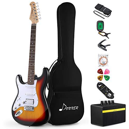 Donner Guitarra Eléctrica para zurdos de tamaño completo de 39 pulgadas con...