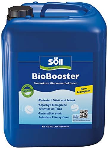 Söll 10255 BioBooster Teichbakterien für klares Wasser rein biologisch 10 l - hochaktive Klarwasserbakterien reduzieren Nitrit Nitrat im Gartenteich Fischteich Schwimmteich Koi-Teich