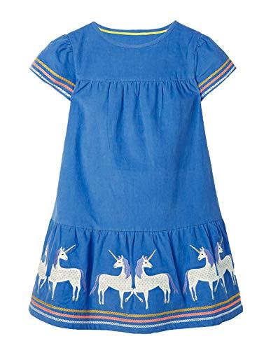 Ohbabyka Little Girls Cute Casual Baumwolle Tiere Gedruckt Streifen Langarm Playwear Kleid (3T, GDS660)