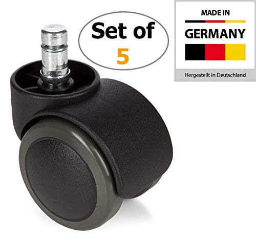 hjh OFFICE 2 inch Office Chair Caster Wheels 7/16 inch Stem Diameter (Set of 5) Casters for Hard Floors