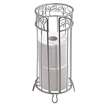 mDesign Decorative Free Standing Toilet Paper Holder Stand with Storage for 3 Rolls of Toilet Tissue - for Bathroom/Powder Room - Holds Mega Rolls - Durable Metal Wire Design - Silver