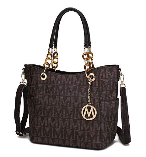 Mia K Collection Crossbody Shoulder Handbag for Women, PU Leather Pocketbook Top-Handle Purse Tote-Satchel Bag Chocolate