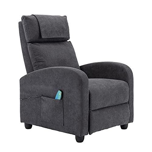 HOMOPIV Relaxsessel, Fernsehsessel mit Liegefunktion Massagefunktion Wärmefunktion, Massagesessel mit Fernbedienung, Ruhesessel Stoff, Liegesessel grau