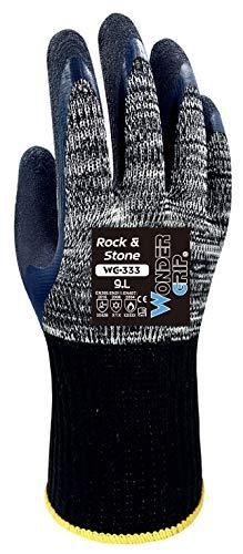 Wonder Grip WG-333 Rock & Stone - Guanto da lavoro con doppio rivestimento in lattice; guanti a prova di taglio, freddo e calore per una presa sicura; L / 09, grigio e nero