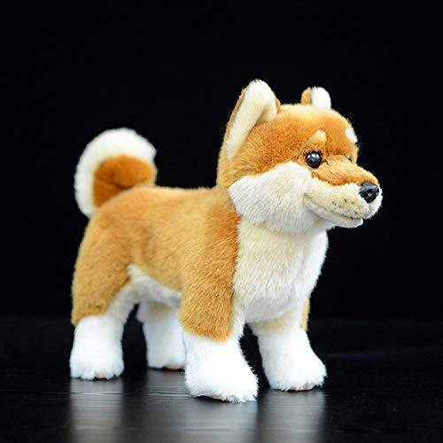 Animal de Peluche, Juguete Interactivo para Mascotas de Peluche Realista, un Juguete de Felpa Shiba Inu Negro de pie en la Vida Real, el Juguete de Peluche para niños 20 cm Amarillo