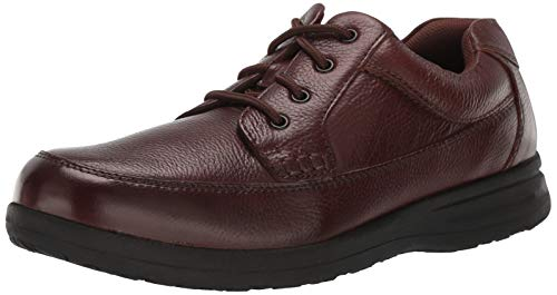 Nunn Bush Men's Cam Moc Toe Casual Lace-Up with Comfort Gel and Memory Foam, Brown Tumbled, 8