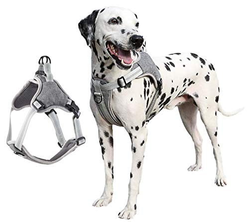 Dog Harness No Pull Dog Vest, Soft Mesh Oxford Pet Vest Adjustable Reflective and Easy Control Pet Harness for Easy Walk and Control Harnesses, for Small Medium Large Dog-Grey_XX-Large
