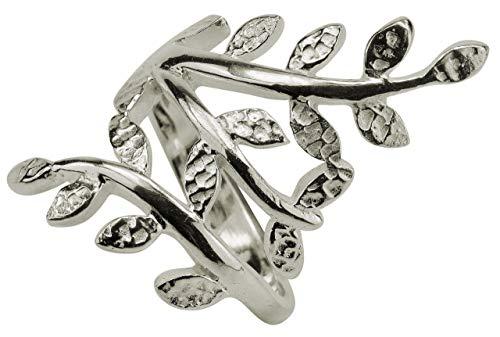 SILBERMOOS Damen Ring Motivring Blatt Zweig filigran 925 Sterling Silber, Größe:56 (17.8)