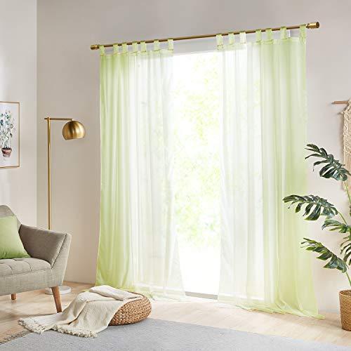 Gardinen Schals Vorhänge Transparent Vorhang für große Fenster Schlafzimmer Benny Grün, lang (2er-Set, je 245x140cm)