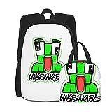 Mochila escolar de 2 piezas para niños, incluye bolsa de almuerzo, unisex Un_Spea_Kable, mochila escolar para adolescentes, bolsas escolares con bolsa de almuerzo aislada, Black2, Talla única