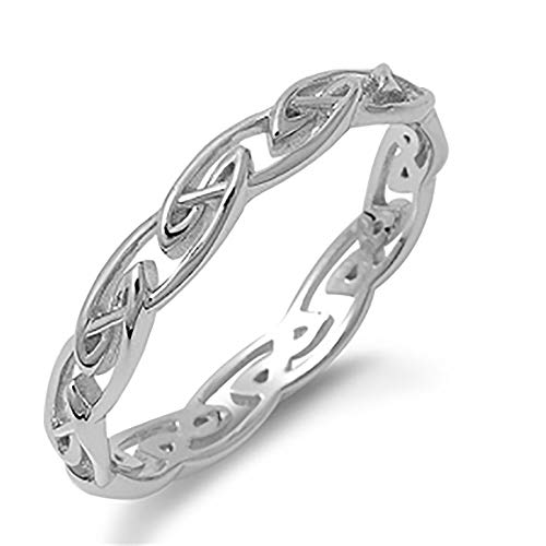 Sterling Silver Celtic Wedding Band 4mm (Size 4 to 10), 8