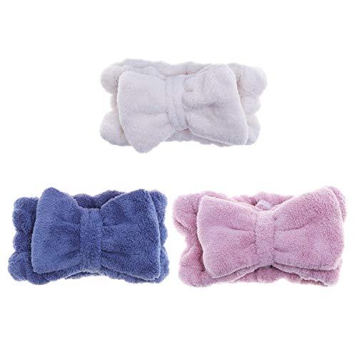 Frcolor fasce bowknot elastico corallo peluche make-up faccia lavare Fascia doccia per donna ragazza 3 pezzi (blu bianco rosa)
