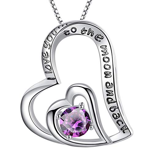 MABELLA Sterling Silver I Love You To The Moon and Back Love Heart Natural Amethyst Pendant Necklace...