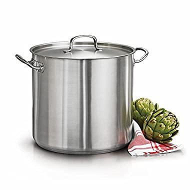 Tramontina 80117/581DS Qt Covered Stock Pot, 24 Quarts, Stainless Steel