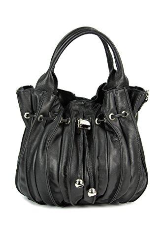 Belli 'Globe Bag ital. Nappaleder Shopper Handtasche Damentasche - Freie Farbwahl - 30x21x24 (B x H x T) (schwarz)