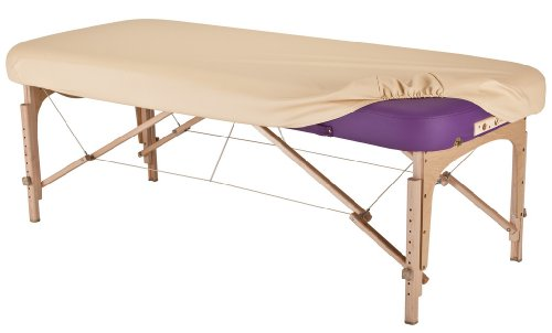"EARTHLITE Massage Table Protection Cover – 100% PU, Fitted Massage Table Replacement Cover, Fits Round & Square Corner Tables 28-32"" Wide, Marie's Beige"