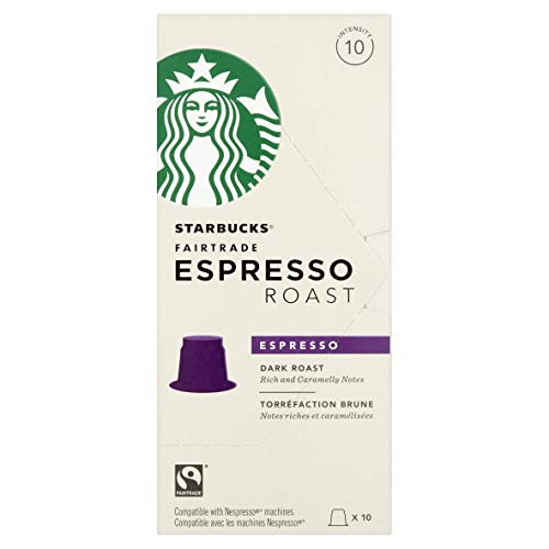 Starbucks Fairtrade Espresso Dark Roast Rich & Caramelly Capsules Coffee Caffè Americano Caramello Capsule Compatibili con Macchina Nespresso (10 capsule 55g)