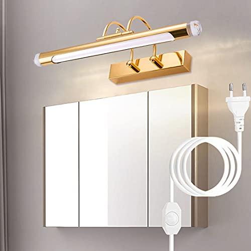 HMAKGG Lámpara de Espejo Aplique Baño con Enchufe y Cable, Lámpara LED Blanca Neutra 4000K Luz de maquillaje Con interruptor Luz de espejo de baño impermeable IP44,12w/67cm
