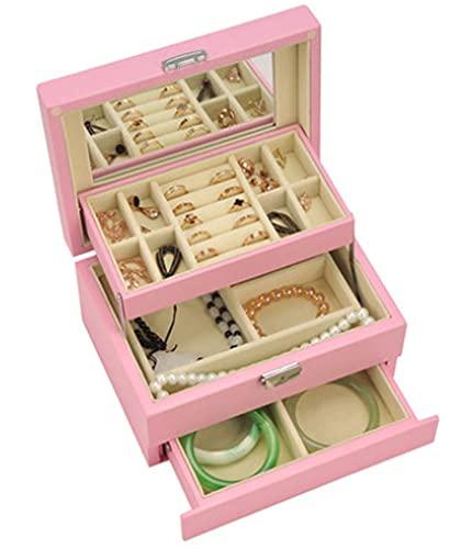 CHXISHOP Joyero de madera con pintura mate, caja de almacenamiento de joyas, caja de viaje y cerradura, caja de joyería semiautomática, regalo de boda (rosa)