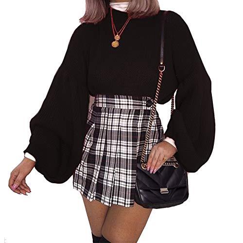 PRETTYGARDEN Women's Loose Drop Shoulder Lantern Sleeve Round Neck Fashion Pullover Sweater Tops Black