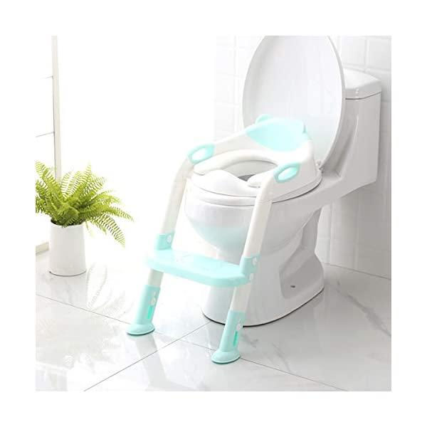 Potty Training Seat with Step Stool Ladder,SKYROKU Potty Training Toilet for Kids Boys Girls Toddlers-Comfortable Safe Potty Seat with Anti-Slip Pads Ladder