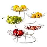 winnerruby Frutero de 5 pisos, frutas decorativas, cesta de fruta de metal de apoyo para conservar frutas y verduras frescas, color blanco
