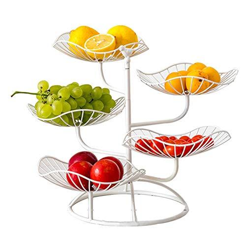 winnerruby Fruttiere a 5 Piani,Fruttiere Decorativo, Cestino da Frutta in Metallo da Appoggio per Conservare Frutta e Verdura Fresca - Bianco