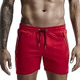 FNKDOR Boxershorts Herren Sommer Fitness Sport Shorts Kordelzug Gummib& Tasche mit Reißverschluss Rot L