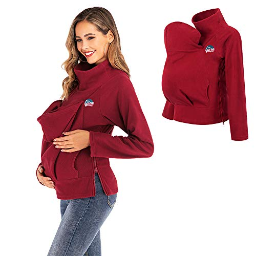 Winter Baby Carrier Jacket, 3In1 Cotton Kangaroo Pregnant Jacket, with Side Zipper Babywearing Jacket for Mom and Baby XXL