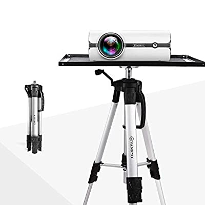 VANKYO Aluminum Tripod Projector Stand, Adjustable Laptop Stand, Multi-Function Stand, Computer Stand Adjustable Height 17'' to 46'' for Laptop with Plate and Carrying Bag