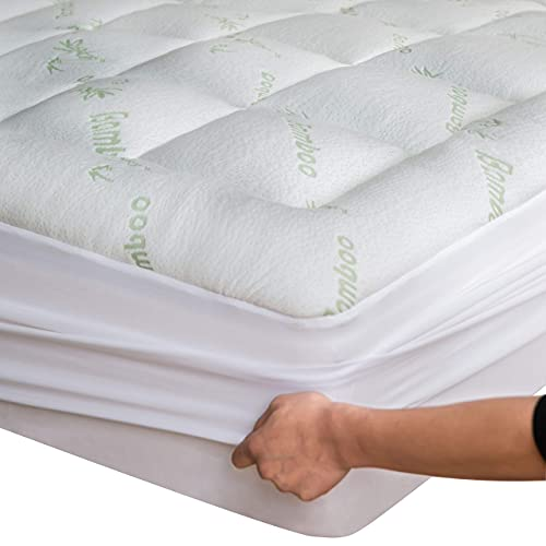 Niagara Sleep Solution Bamboo Mattress Topper Cover Queen Cooling Pillow Top Mattress Pad Breathable Extra Plush Thick Extra Deep Fitted 20 Inches Rayon