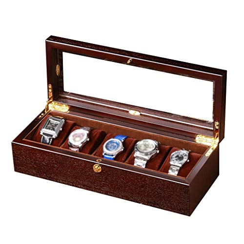 H.yina H.yina Glasdeckel 5 Uhrenbox Schmuckdisplay Aufbewahrungsbox Holzarmband Tablett 4 Abnehmbare Kissen Schaufenster Organizer