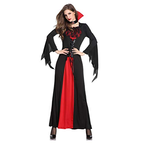 Disfraz De Vampiro De Halloween, Estilo Bicolor Negro Y Rojo, Estilo Vampiro De Malla, Tela Cmoda, Disfraz De Halloween para Mujer para Varias Fiestas De Baile, Carn(Color:Vampiro A,Size:SG)