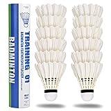 Volani avanzati in nylon da 12 pacchetti, palle da badminton a velocità media con grande stabilità e durata, sport all'aria aperta da interno ad alta velocità giocando a palle da badminton -bianco