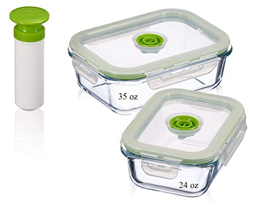 Lasting Freshness Vacuum Seal Food Storage Containers - Deep Freezer Food Storage Sealer - Hand Held Vacuum Food System - Rectangle - 5Pc - Green