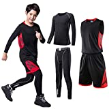 TERODACO Kids 4 pcs Athletic Thermal Tights & Shirts Basketball Jerseys Tank Shorts Set