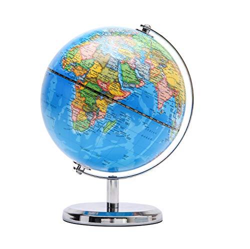 Exerz 14CM Globo Terráqueo - en Inglés - Decoración de escritorio educativa/geográfica/moderna - Con una base de metal (Azul Político)