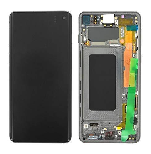Handyteile24 ✅ Super Amoled Display Bildschirm Rahmen in Prism Black/Schwarz für Samsung Galaxy S10 G973F - GH82-18850A
