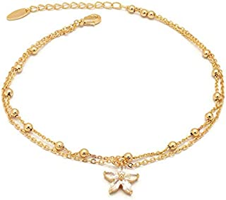Florence Collection Women's Anklet, 18kt Gold plated, Star charms, Embedded with beautiful cubic white stones around the c...