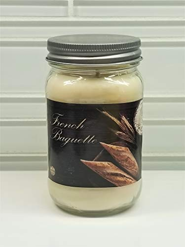 French Baguette Candle ~ Warm Buttered Bread Scented Candle ~ 100% Soy Wax (16oz Mason)