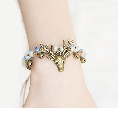 FRV Bracelet tête de cerf Femelle Douce Sen Femelle à la Main Bracelet Style Ethnique Style rétro Bijoux en céramique,Bleu,A