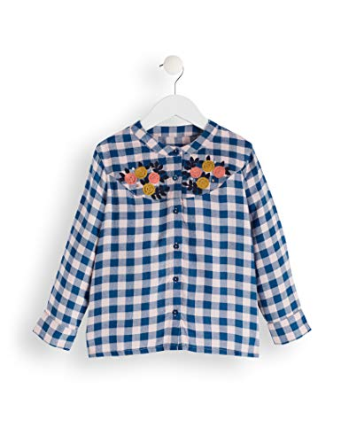 Amazon-Marke: RED WAGON Mädchen Bluse Check Blouse, Blau (Blue/Pink Check), 104, Label:4 Years