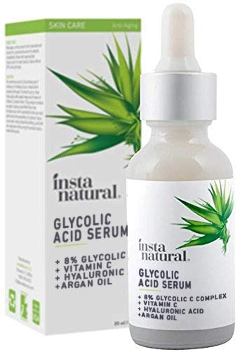 Glycolic Acid Serum - Blackhead Remover - Intensive Exfoliator & Anti-Aging Wrinkle Renewal Remedy - Reduce Wrinkles & Scars - With Vitamin C & Hyaluronic Acid - InstaNatural - 1 oz