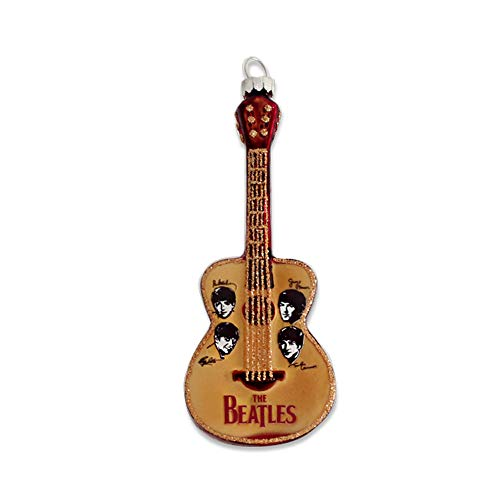kat + annie Ornament The Beatles Guitar, Brown and Red