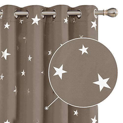 Deconovo Tende Oscuranti Termiche Isolanti Tende Stampate delle Stelle Finestre Soggiorno con Occhielli per Casa Moderne Due Pannelli 132x160cm Cachi